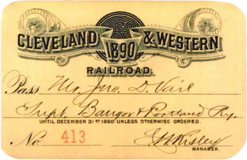 Cleveland & Railway Railroad Rail Pass