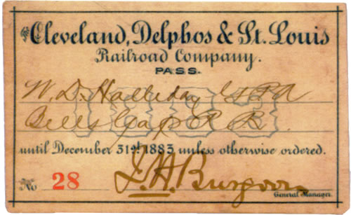 Cleveland Delphos & St. Louis Railroad Rail Pass