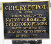 Historical Marker Copley Depot