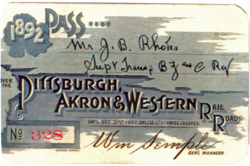 Pittsburgh Akron & Western Railroad Rail Pass 1892