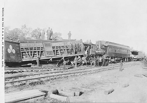 Wreck on the P.A. & W. at Bluffton, Ohio, Saturday October 8, 1892. Photo by Andrew Klay, a Bluffton resident.Courtesy of Fred Steiner www.blufftonicon.com.