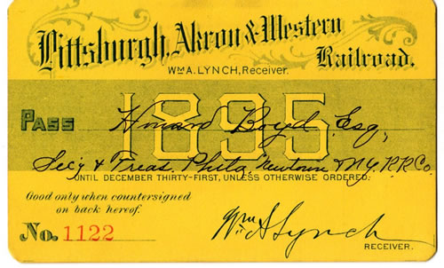 Pittsburgh Akron & Western Railroad Rail Pass 1895